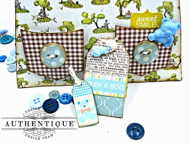 Authentique Beginnings Baby Boy Bib Overall Card by Kathy Clement Photo 2