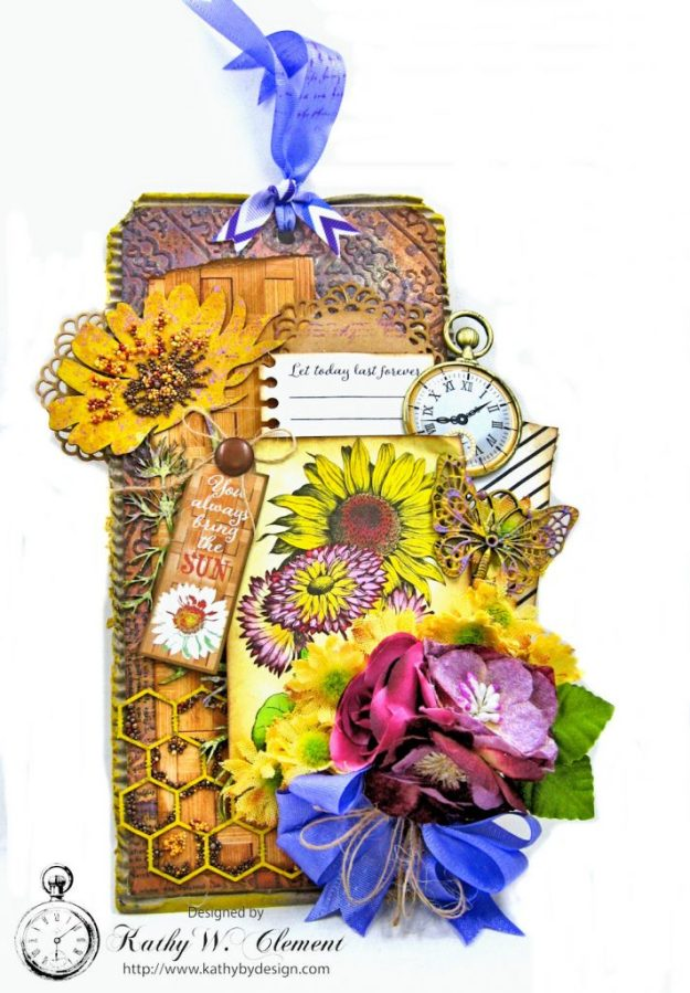 Summer Sunflowers Mixed Media Tag Cheerful by Kathy Clement Product by Authentique Photo 1