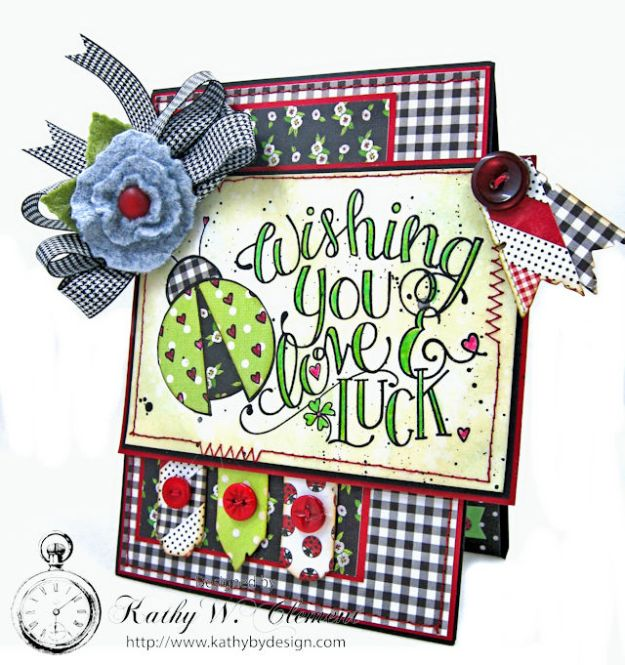 Love, Luck and Ladybugs Bookmark Card by Kathy Clement for Tammy Tutterow Designs Photo 2