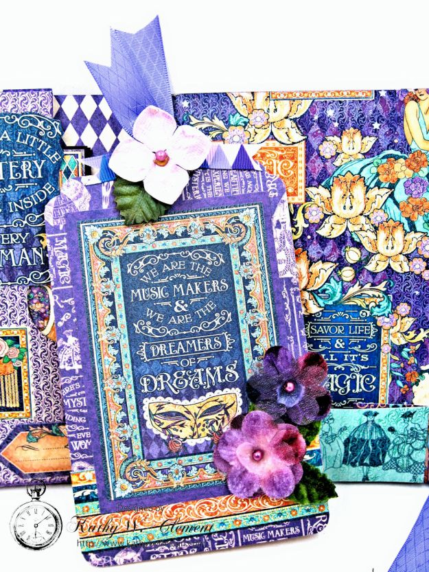 Midnight Masquerade Tri Fold Folio by Kathy Clement for RRR Product by Graphic 45 Photo 7