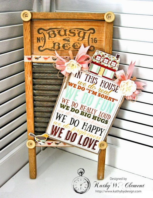 Family Rules Altered Washboard Vintage Blessings by Kathy Clement for Really Reasonable Ribbon Product by Simple Stories Photo 2