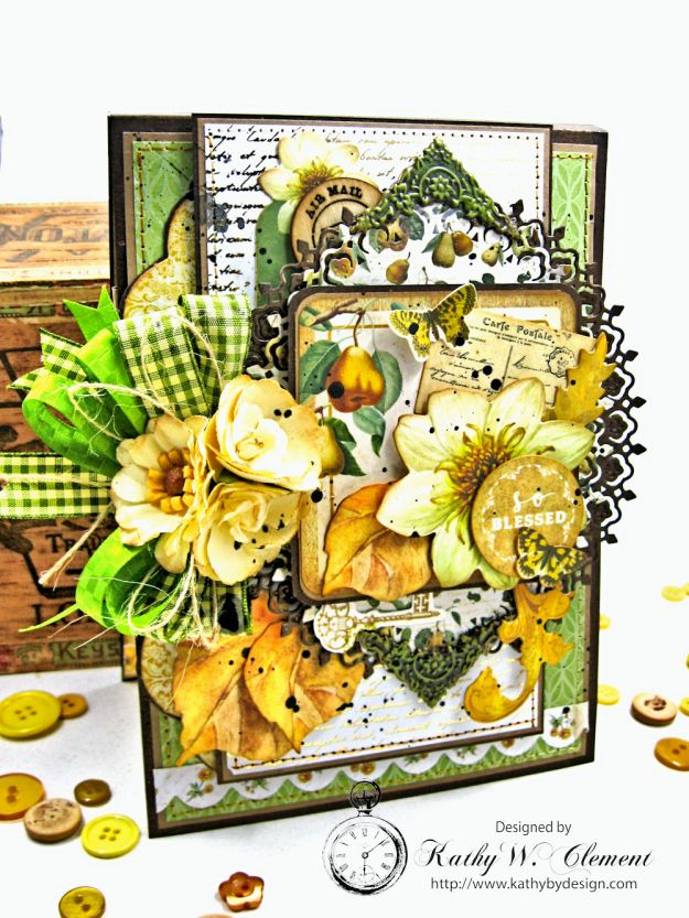 Golden Grove Botanical Card Folio by Kathy Clement for Really Reasonable Ribbon Photo 2