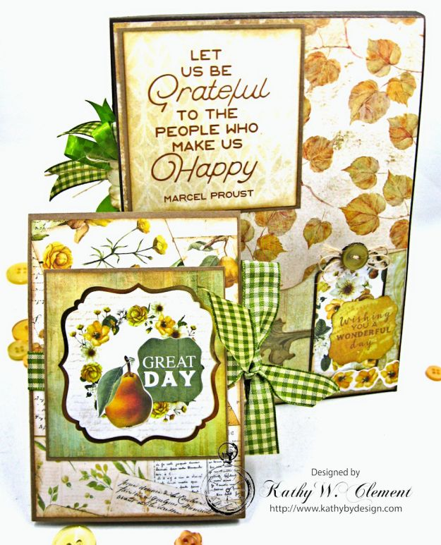 Golden Grove Botanical Card Folio by Kathy Clement for Really Reasonable Ribbon Photo 8