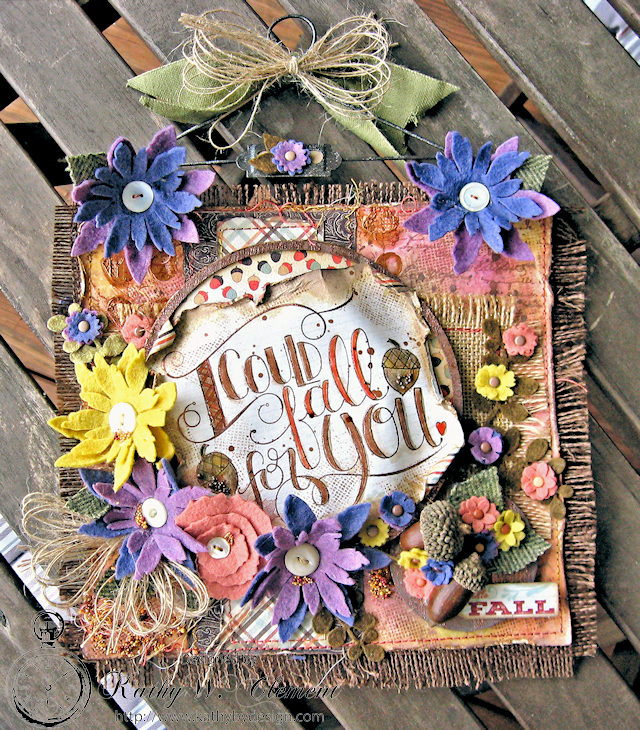 Rustic Fall Banner with Felt Flowers by Kathy Clement for Tammy Tutterow Designs Photo 1