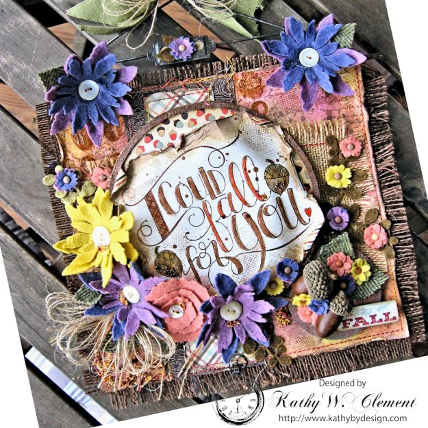 Rustic Autumn Banner with Felt Flowers by Kathy Clement for Tammy Tutterow Designs Photo 3