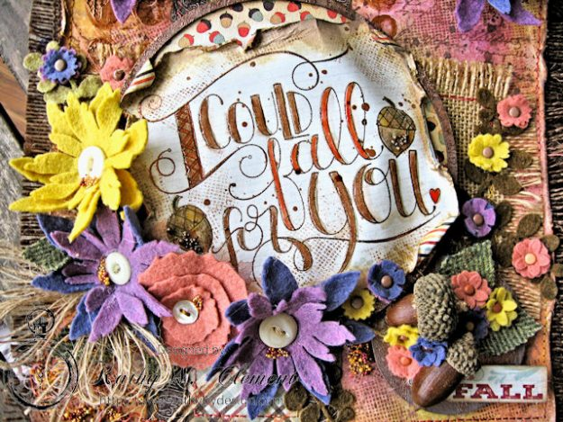 Rustic Autumn Banner with Felt Flowers by Kathy Clement for Tammy Tutterow Designs Photo 2