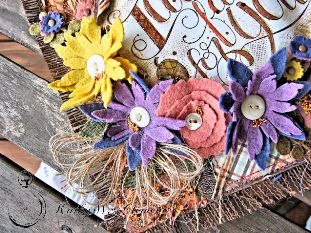 Rustic Autumn Banner with Felt Flowers by Kathy Clement for Tammy Tutterow Designs Photo 6