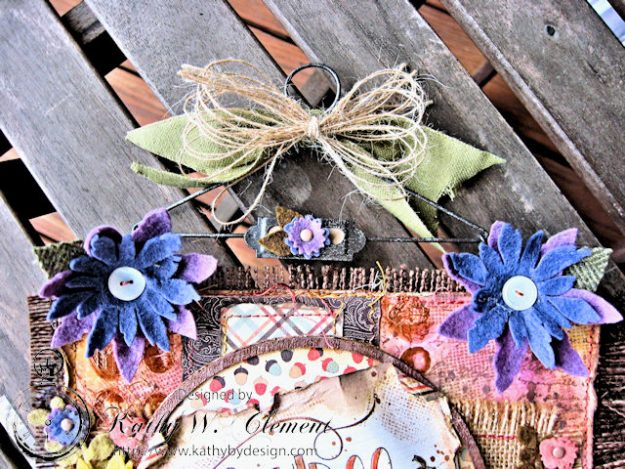 Rustic Autumn Banner with Felt Flowers by Kathy Clement for Tammy Tutterow Designs Photo 9