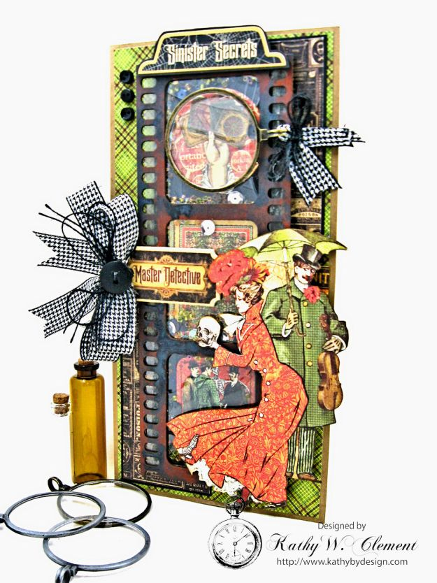 Sinister Secrets Master Detective Shaker Card Tutorial by Kathy Clement for Really Reasonable Ribbon Photo 2