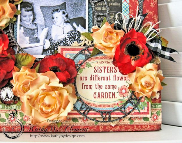 Sisters Altered Mirror Penny's Paper Doll Family by Kathy Clement for Really Reasonable Ribbon Product by Graphic 45 Photo 5
