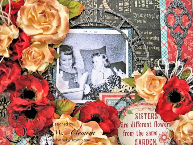 Sisters Altered Mirror Penny's Paper Doll Family by Kathy Clement for Really Reasonable Ribbon Product by Graphic 45 Photo 7