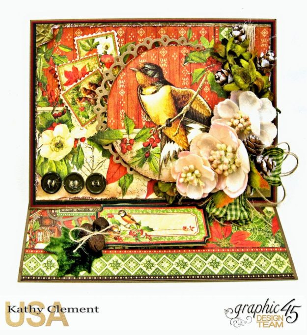 Winter Wonderland Christmas Card Duo Winter Songbird Easel Card by Kathy Clement Product by Graphic 45 Photo 2