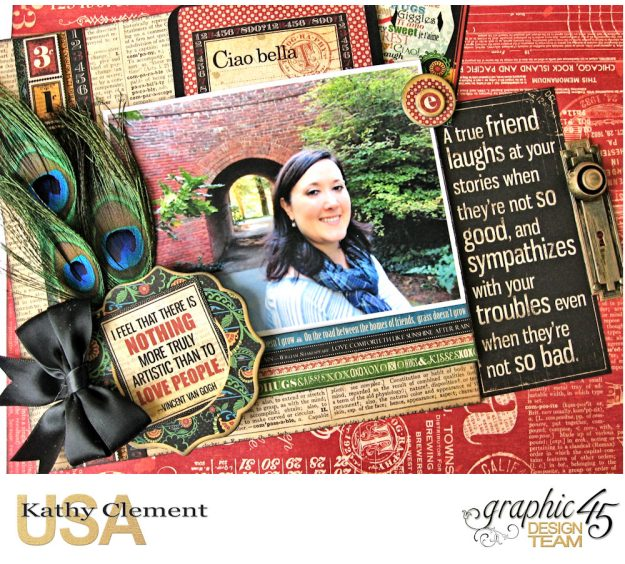 Ciao Bella Layout Tutorial Typography by Kathy Clement Product by Graphic 45 Photo 3
