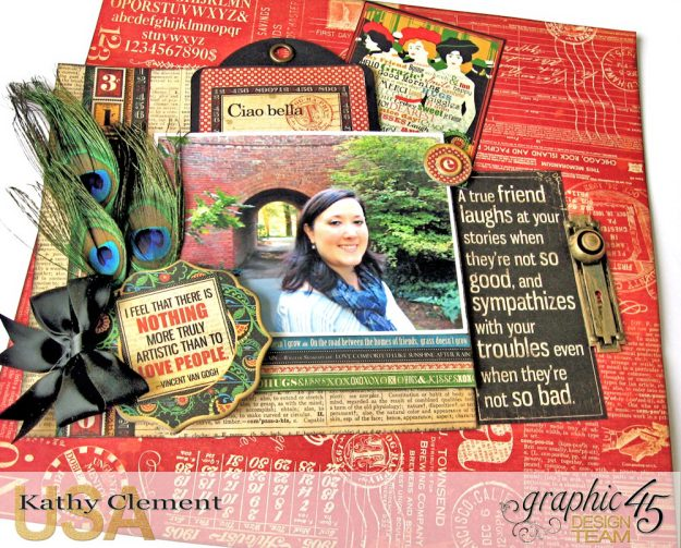 Ciao Bella Layout Tutorial Typography by Kathy Clement Product by Graphic 45 Photo 5