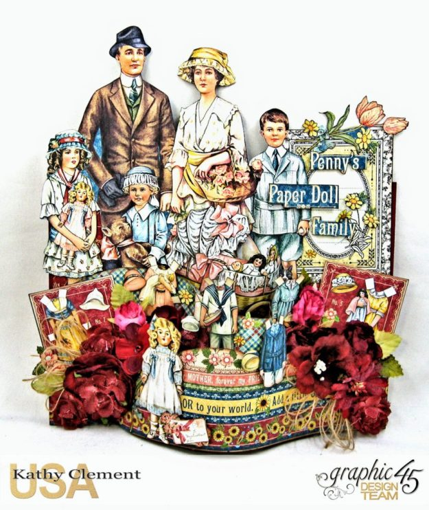 Happy Family Bendi Card Penny's Paper Doll Family by Kathy Clement Product by Graphic 45 Photo 1
