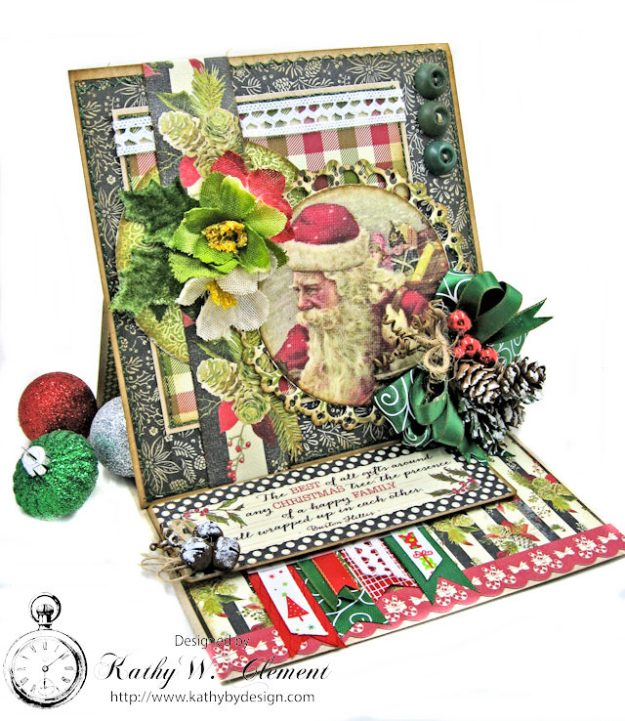 Vintage Santa Easel Card Vintage Christmas by Kathy Clement for Really Reasonable Ribbon Product by Authentique Photo 1