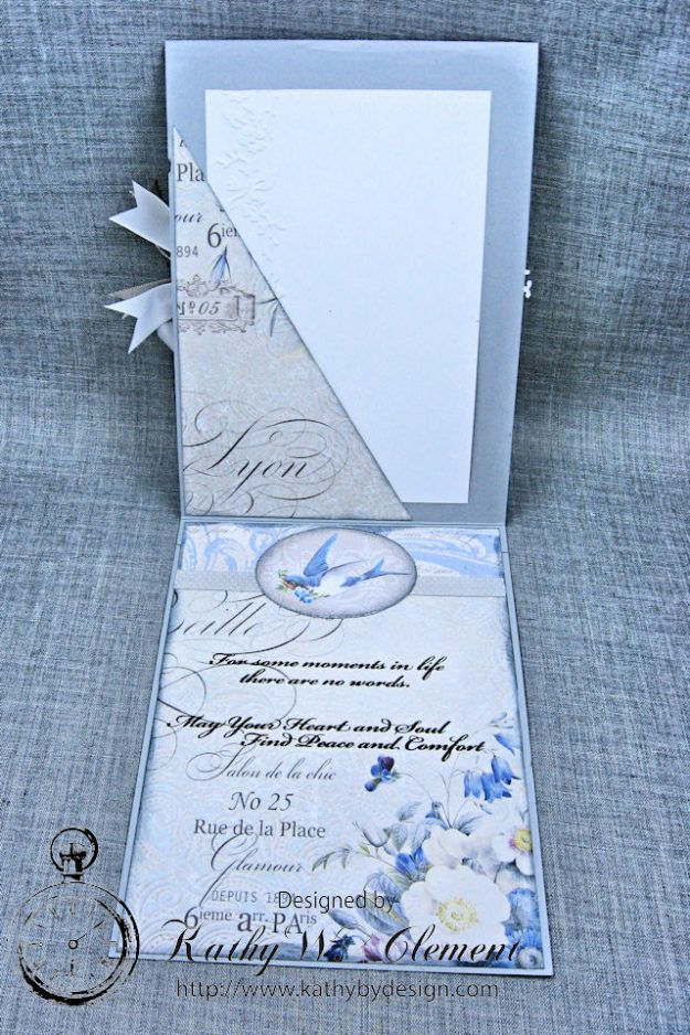 Blue Sympathy Card New England by Kathy Clement for Really Reasonable Ribbon Blog Hop Product by Stamperia Photo 4