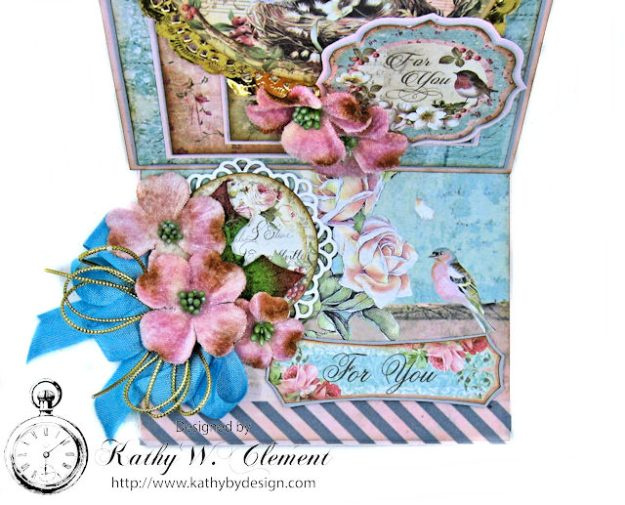 Sweet Christmas Bluebirds Easel Card Sweet Christmas by Kathy Clement for Really Reasonable Ribbon Product by Stamperia Photo 3