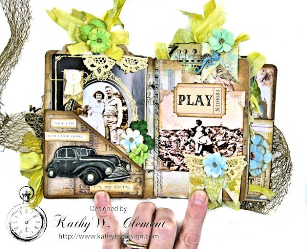 Faded Photos Passport Album for Frilly and Funkie Timeworn Challenge by Kathy Clement Photo 4