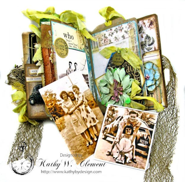Faded Photos Passport Album for Frilly and Funkie Timeworn Challenge by Kathy Clement Photo 12