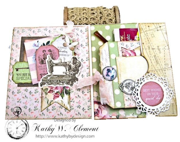 Stitched with Love Friendship Card Folio Mademoiselle by Kathy Clement for Really Reasonable Ribbon Product by Kaisercraft Photo 3