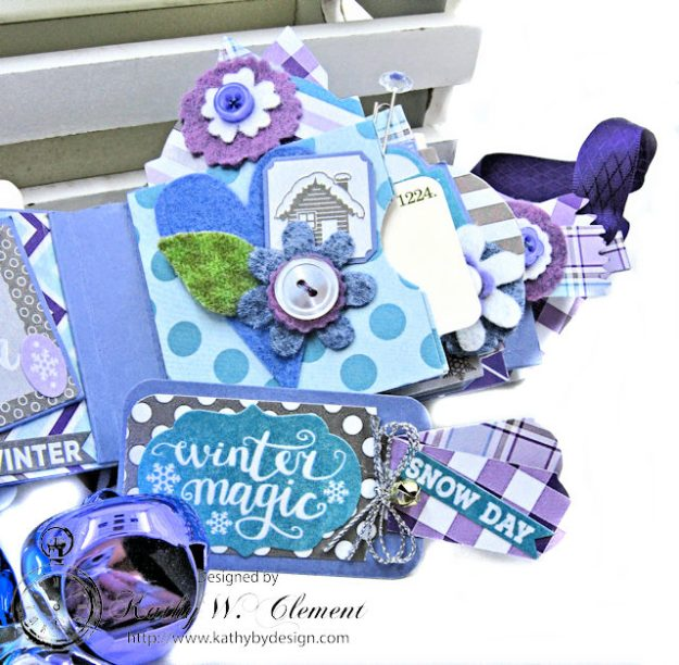 Frosty Winter Mini Tag Album Tutorial by Kathy Clement for Tammy Tutterow Designs Product by Spellbinders and Authentique Photo 11