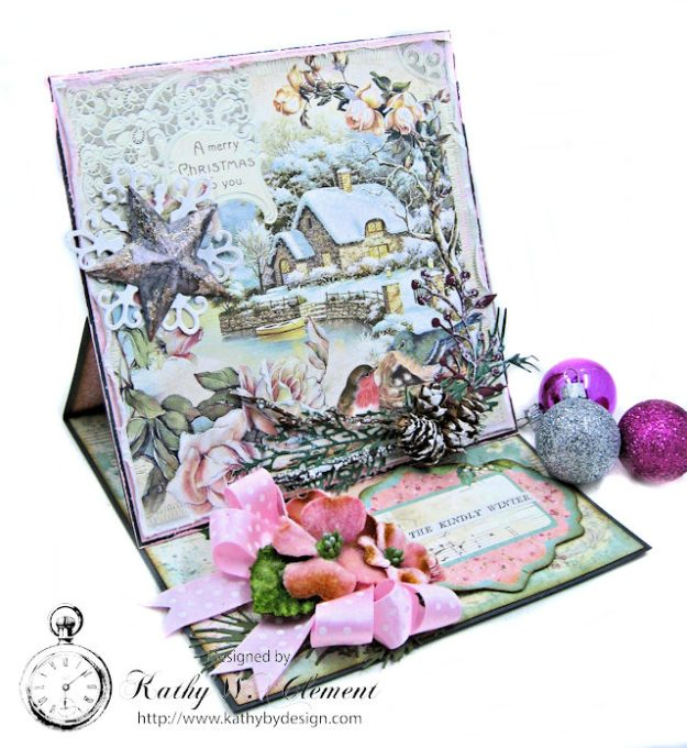 Shabby Chic Woodland Christmas Easel Card Sweet Christmas by Kathy Clement for Really Reasonable Ribbon Product by Stamperia Photo 2