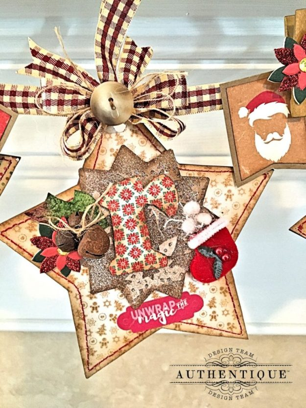 Merry Christmas Star Banner Colorful Christmas by Kathy Clement Product by Authentique Photo 4