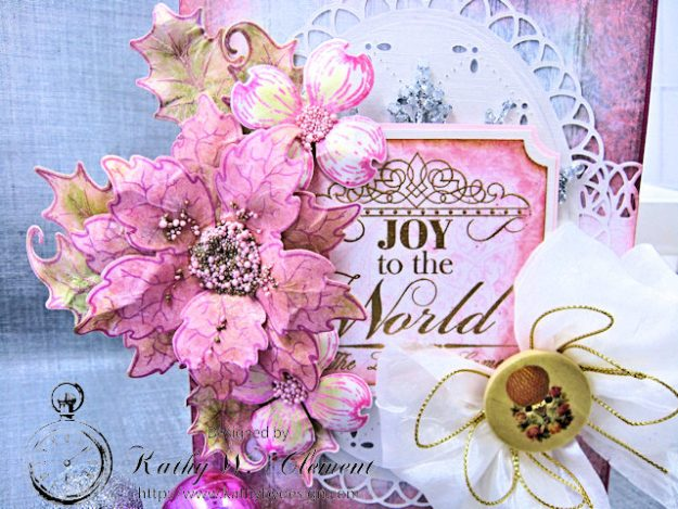 Pink Christmas Poinsettia Greeting Card Tutorial by Kathy Clement for Heartfelt Creations Alumni Hop Photo 2