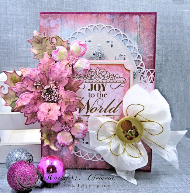 Pink Christmas Poinsettia Greeting Card Tutorial by Kathy Clement for Heartfelt Creations Alumni Hop Photo 1