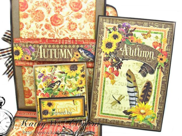 Thankful Season Card Folio Seasons by Kathy Clement for Frilly and Funkie Give Thanks Challenge Product by Graphic 45 Photo 7