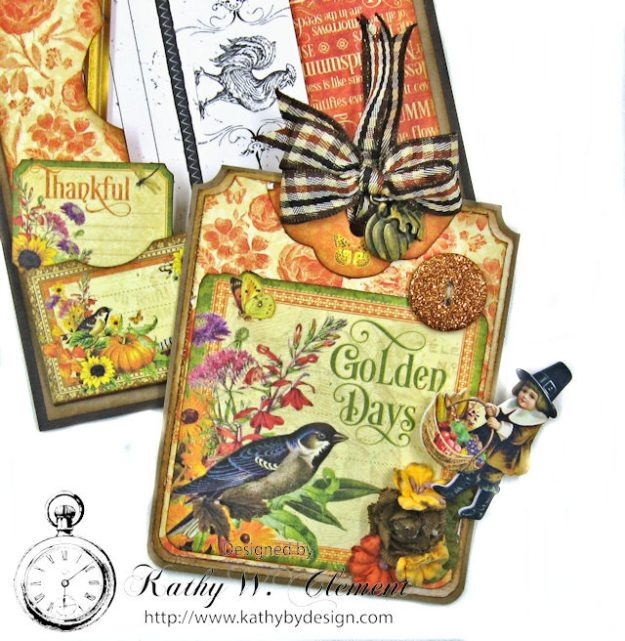 Thankful Season Card Folio Seasons by Kathy Clement for Frilly and Funkie Give Thanks Challenge Product by Graphic 45 Photo 10