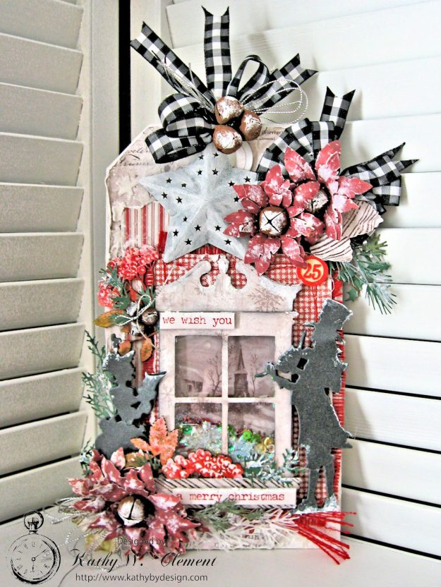 White Christmas Etcetera Shaker Tag by Kathy Clement for Frilly and Funkie Challenge Blog Photo 1