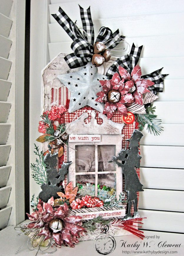 White Christmas Etcetera Shaker Tag Snapguide Tutorial by Kathy Clement Photo 1
