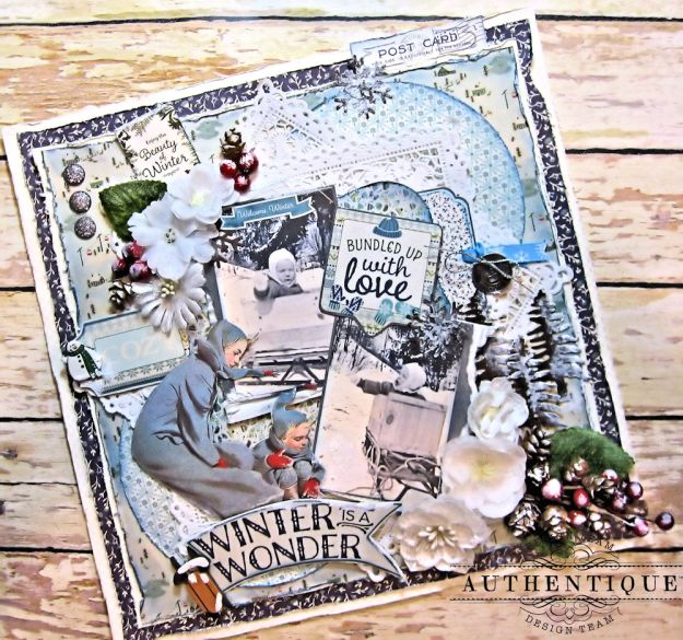 Authentique Alpine Bundled Up With Love Layout by Kathy Clement Product by Authentique Photo 2