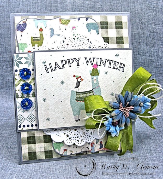 Happy Winter Twist and Pop Card Tutorial Alpine by Kathy Clement Product by Authentique Paper Photo 1