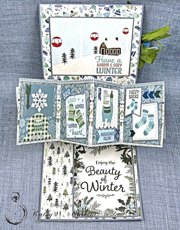 Happy Winter Twist and Pop Card Tutorial Alpine by Kathy Clement Product by Authentique Paper Photo 3