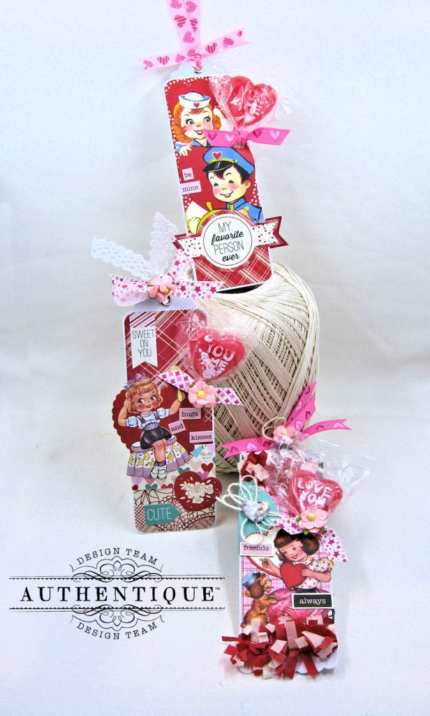 Lovestruck Lollipop Valentine Bookmarks Lovestruck by Kathy Clement Product by Authentique Paper Photo 2