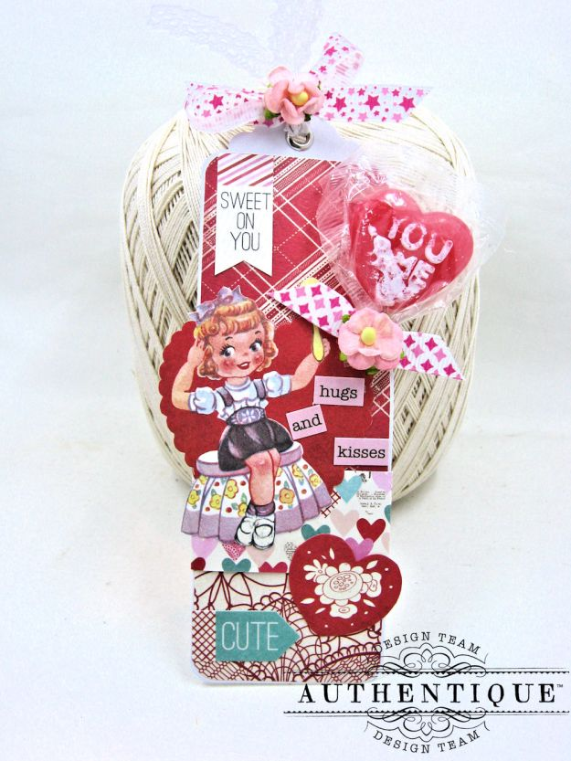 Lovestruck Lollipop Valentine Bookmarks Lovestruck by Kathy Clement Product by Authentique Paper Photo 3