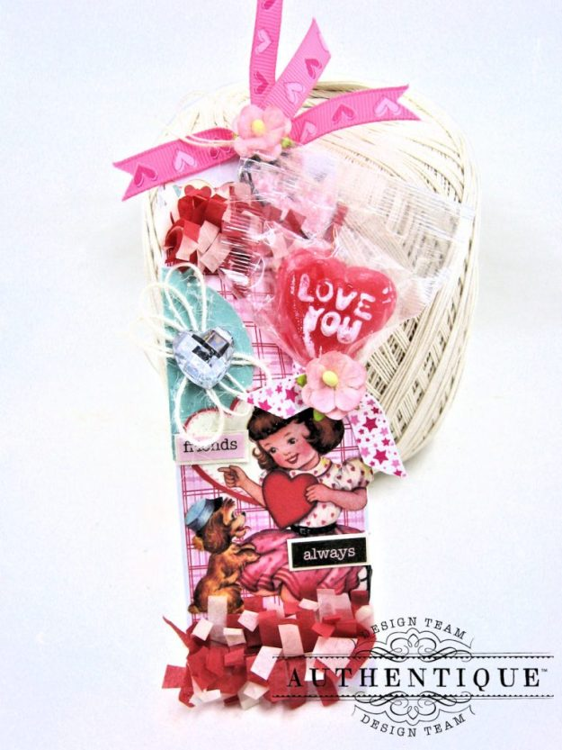 Lovestruck Lollipop Valentine Bookmarks Lovestruck by Kathy Clement Product by Authentique Paper Photo 5