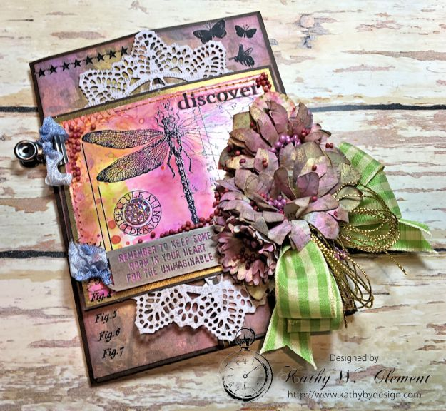 Dragonfly Discover Junk Journal Wallflower by Kathy Clement for Frilly and Funkie Product by Tim Holtz Photo 3