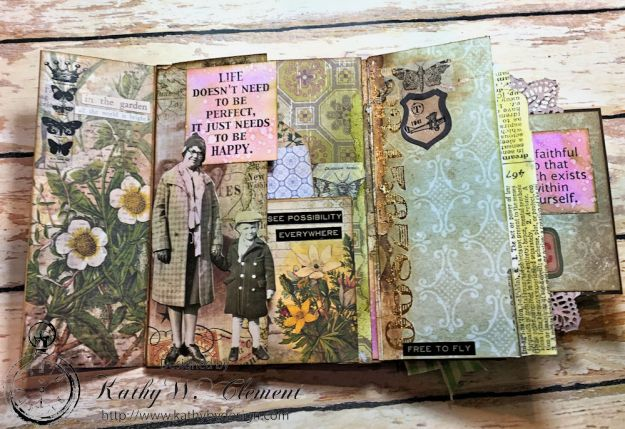 Dragonfly Discover Junk Journal Wallflower by Kathy Clement for Frilly and Funkie Product by Tim Holtz Photo 10