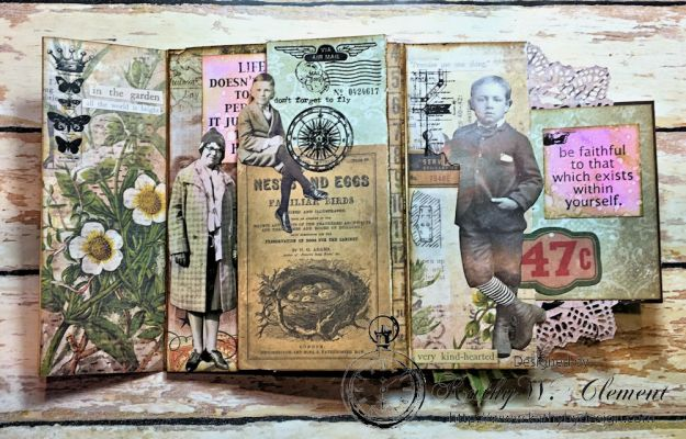 Dragonfly Discover Junk Journal Wallflower by Kathy Clement for Frilly and Funkie Product by Tim Holtz Photo 8