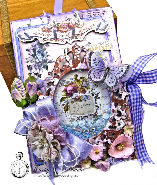 Prima Lavender Blooming Marvelous Flip Folio by Kathy Clement for The Funkie Junkie Boutique Photo 03
