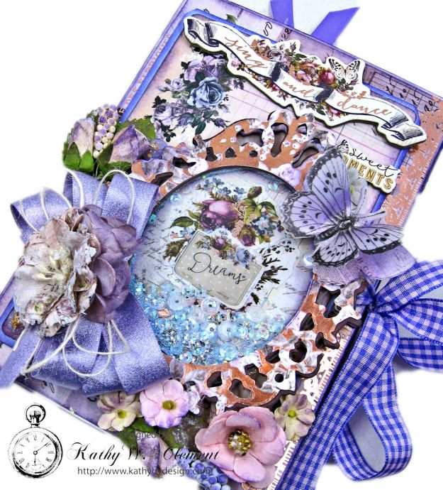Prima Lavender Blooming Marvelous Flip Folio by Kathy Clement for The Funkie Junkie Boutique Photo 02