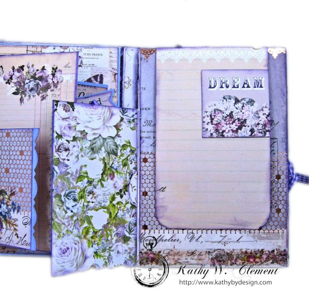 Prima Lavender Blooming Marvelous Flip Folio by Kathy Clement for The Funkie Junkie Boutique Photo 09
