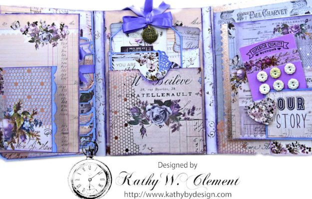 Prima Lavender Blooming Marvelous Flip Folio by Kathy Clement for The Funkie Junkie Boutique Photo 12