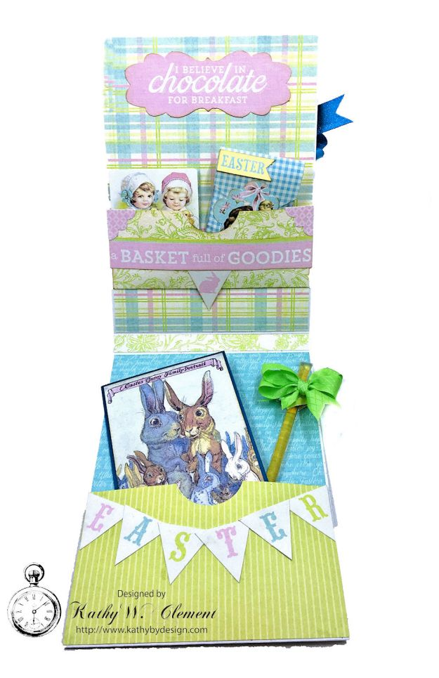 Blue Bunnies Vintage Style Easter Card Springtime by Kathy Clement for Really Reasonable Ribbon Product by Authentique Paper Photo 03