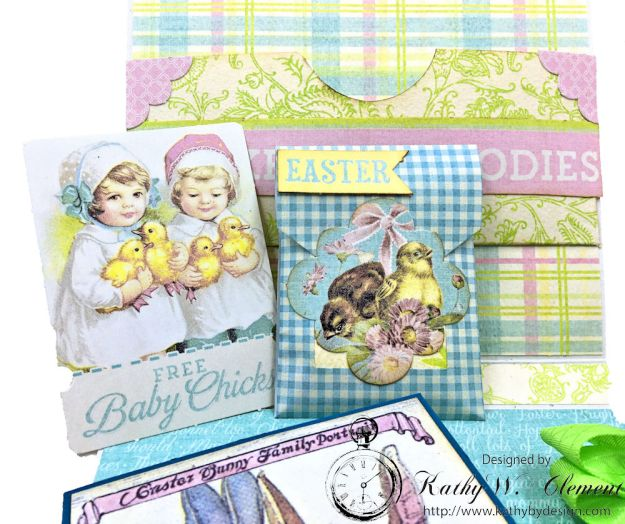 Blue Bunnies Vintage Style Easter Card Springtime by Kathy Clement for Really Reasonable Ribbon Product by Authentique Paper Photo 04
