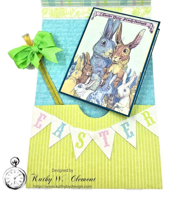 Blue Bunnies Vintage Style Easter Card Springtime by Kathy Clement for Really Reasonable Ribbon Product by Authentique Paper Photo 05